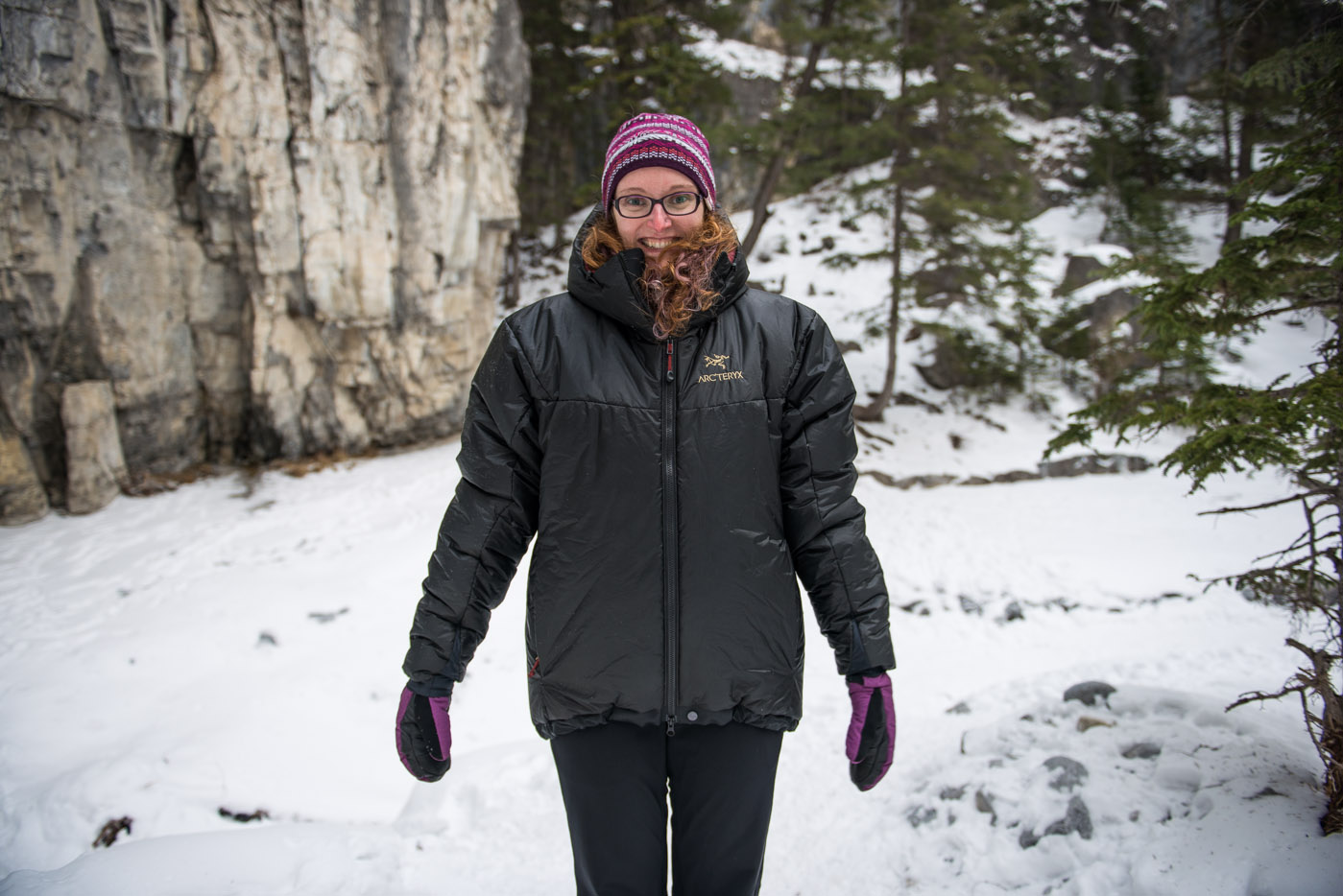 Easily big enough to fit over multiple winter layers, or even other belay jackets. (In this picture, Meg is also wearing the Cerium LT Hoody underneath